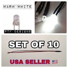 10 PCS x Warm White LED 9-12 V, Volts DC Pre Wired 3mm, Light SET Lot
