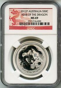 2012 P Australia 1/2 Oz Lunar Silver Dragon NGC MS 69 Dragon Label SPOT FREE