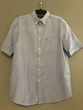 Lacoste Button Down Short Sleeve Shirt Regular Fit Blue Sz 44 XL New with tags