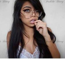 OVERSIZED GOLD METAL AVIATORS CLEAR LENS SEXY GLASSES FASHION LARGE METAL FRAME