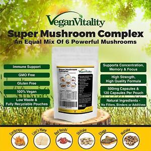 Super Mushroom Complex. Lions Mane Reishi Chaga Shitake Cordyceps & Maitake