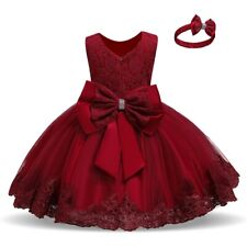 Lace Princess Bow Baby Wedding Birthday Party Flower Girl Dress Size 1-5