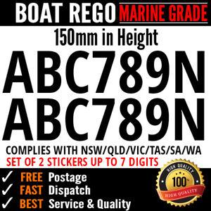 BOAT REGO Personalise Text Sticker Decal Registration Letter Marine Grade Vinyl