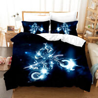 3D Extreme Motorcycle Quilt Cover Set Pillowcases Duvet Cover 3pcs Bedding