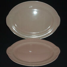 """2~1938-60 T.S.&T. Lu-Ray Pastels Pink 13 3/8"""" & 11 3/4 Serv Platter Taylor,Smith"""