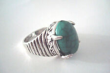 Aged Silver Tone Green Cracked 'Stone' Statement Ring Size P