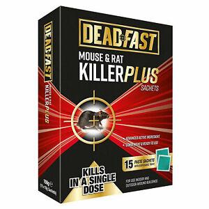 Dead Fast Mouse & Rat Killer Plus 15 Sachets Rodent Poison Bait  Single Dose