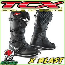 STIVALI BOOTS MOTO MX CROSS ENDURO QUAD FUORISTRADA TCX X-BLAST BLACK NERO 42
