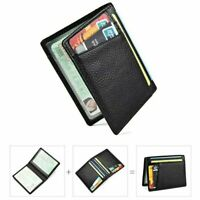 TOP Wallet slim money clip credit card holder ID business mens genuine leather