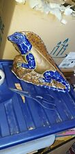 Unusual vintage Very Large Lizard Ornament Hand Made Painted Decorative Metal