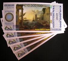 DEALER LOT OF 5 POLYMER 10 MILLION EURO 2015 HARBOR SCENES FANTASY ART NOTES!
