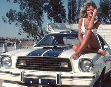 FARRAH FAWCETT SEXY ON FORD MUSTANG CHARLIE'S ANGELS TV SERIES 8X10 PHOTO HOT!!