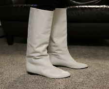 Vintage Calvin Klein White Leather Boots Knee High Size 10M Narrow Calf