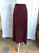 Vintage LAURA ASHLEY Skirt Burgundy/Black Velvet Devore Size 8-10