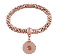 Rose Gold Stretch Dangle 18-20mm Snap Charm Bracelet For Ginger Snaps Jewelry
