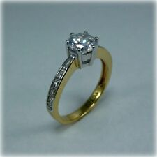 9ct Yellow & White Gold Cubic Zirconia Solitaire Ring