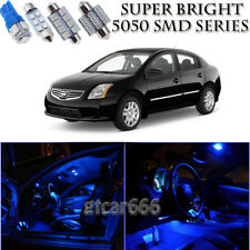 For Nissan Sentra 2007-2016 Blue LED Interior Kit + License Plate Light 8 Pieces