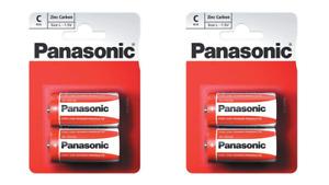 4 x Panasonic C Size Zinc Carbon Batteries R14, MN1400, MX1400, BABY, 14G, R14P