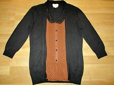 next brown spotted blouse with attach cardigan size 12