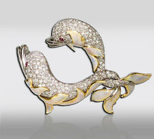 18k Diamond Encrusted Enamel Dolphin Gold Pin Brooch