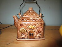 Vintage 1960's cutie Japan pottery gingerbread house teapot