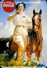 Coca Cola Girl and Horse Blechpostkarte Blechschild 10 x 14 cm *Angebot*
