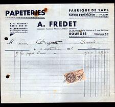 """BOURGES (18) USINE PAPETERIE / SACS & PAPIERS d'EMBALLAGE """"MILLET / FREDET"""" 1935"""