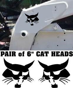 "2, Bobcat cat heads skid steer decals 6"", Logo Vinyl weatherproof Sticker"