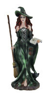 Zeckos Green Witch and Black Cat Walking w/Broom and Spellbook Statue