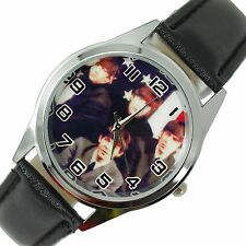 THE BEATLES WATCH Steel LEATHER ROCK MUSIC LEGENDS ROUND CD COLOUR WATCH UK E1