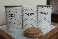 Set Of 3 White Ceramic Polka Dot Tea - Coffee - Sugar Storage Jars With Wood Lid