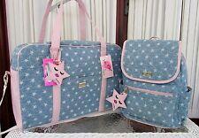 Luv Betsey Johnson Moon Dust Weekender Luggage Backpack Set Stars Blue Bag NWT