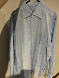 Kiton Luxury Blue Linen/Cotton Shirt UK42/16.5 RRP £1010