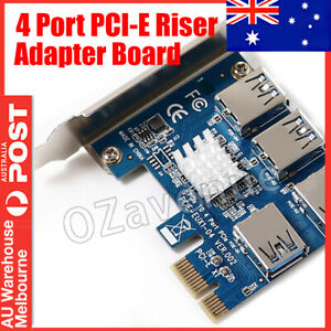 4 x Ports PCIe Riser Adapter Board PCI-E 1 to 4 EXPRESS USB 3.0 PCI-E Rabbet GPU