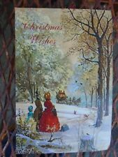 Vtg Christmas card snow forest Victorian dressed family waiting sleigh Fantusy