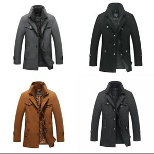 Men Boys Winter Padded Wool Blends Coat Jacket Quilted Lining Button Warm Thick