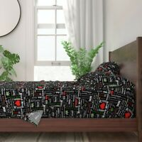 Marijuana Vocabulary Black And Red Weed 100% Cotton Sateen Sheet Set by Roostery