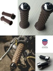 """HOT 7/8"""" Brown Motorcycle Bike ATV Scooter Handlebars Hand Grips Covers Rubber"""