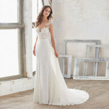 Bridal Gown Watteau Train Cheap vestido de novia Chiffon Beach Wedding Dresses