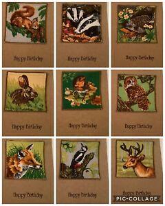 Handmade Birthday Card Fabric Woodland Creatures. blank for own message. Owl fox