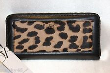 NEW! DIANE VON FURSTENBERG Black Leather Clalfhair VOYAGE Zip Wallet Boxed $175