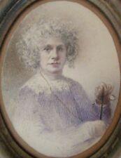 2487* très jolie miniature portrait femme dessin colorié fait main