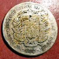 Venezuela 5 Bolivares  1887 Plata Fuerte de Simon Bolivar @ Bella @