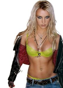 GLOSSY PHOTO PICTURE 8x10 Britney Spears Green Bra