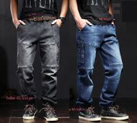 Men's Casual Tactical Jeans Cargo Pants Work Denim Pants Multi-pockets Trousers@