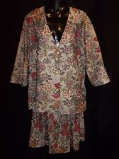 ANTHONY RICHARDS 2pc DRESS Top Skirt  Women's BEIGE FLORAL  Size 14 EUC
