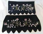 ANTIQUE 2pcs HAND EMBROIDERED VELVET DECORATIVE WALL RUG TAPESTRY w/GOLD THREADS