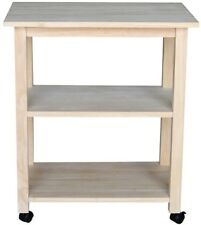 Unfinished Kitchen Cart 100% Solid Wood w/ 4-Caster Wheels and Shelves Storage