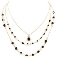 Delicate Black and Fine Gold-Tone Layered Chain Necklace