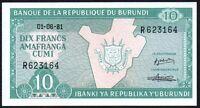 1981 Burundi 10 Francs Banknote * aUNC * P-33a *